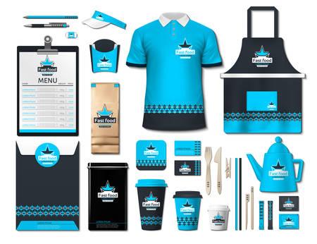 Insieme di elementi di identità aziendale di business fastfood. Vector fastfood Colore uniforme promozionale, grembiule, menu, calendario, tazze di caffè design con loghi. Collezione realistica di oggetti di lavoro