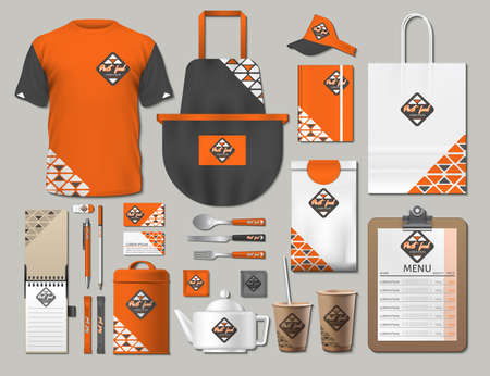 Business fastfood corporate identity items set. Vector fastfood orange Color promotional uniform, apron, menu, timetable, coffee cups design with logos. Work Stuff Stationery 3d realistic collection