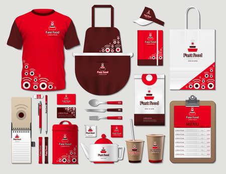 Conjunto de artículos de identidad corporativa de comida rápida de negocios. Vector fastfood rojo Color uniforme promocional, delantal, menú, horario, tazas de café diseño con logotipos. Artículos de trabajo Papelería 3d realista colección Logos