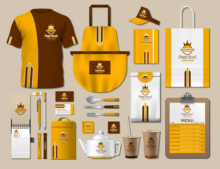 Business fastfood corporate identity items set. Vector fastfood yellow Color promotional uniform, apron, menu, timetable, coffee cups design with logos. Work Stuff Stationery 3d realistic collection