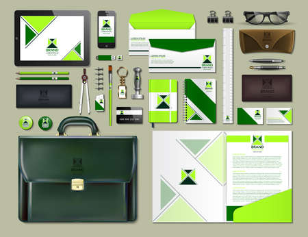 Business corporate identity items set. Vector working articles portofolio, glasses, phone, tablet, maps with brand logos. Work Stuff Stationery 3d realistic collection