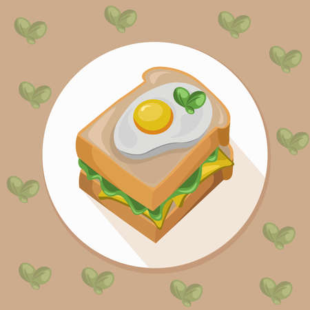 toasted: egg toast with green salad healthy breakfast fresh tasty vector illustration