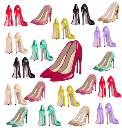 lady shoes pumps vector set colorful, summer style