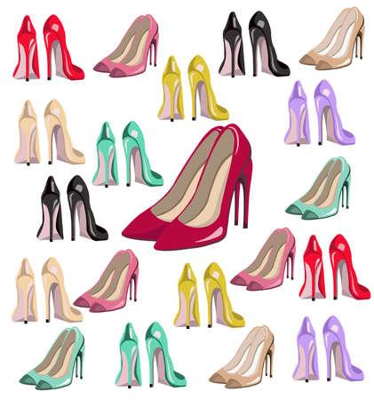 sexy lady shoes vector de bombas set colorido, estilo de verano