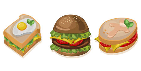 bowl of cereal: Burger, toaster and sandwich icon detailed templates Vector illustrations