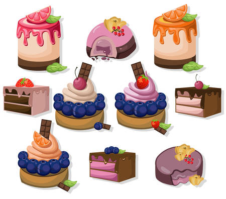 Mousse chocolate delicious cakes set collection. Sweet dessert blackberry flavors Vector illustrations Illustration