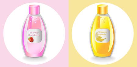 Vector Cosmetics set package. Hydration shampoo fruits fragrance. Perfect for advertising, flyer, banner, poster. Pink yellow color 2d illustrations Illustration