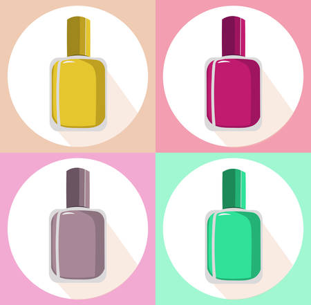 Nail polish vector set icon template colorful package labe