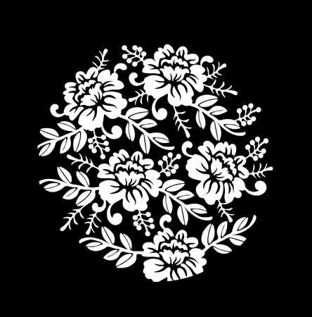 Vintage black and white Floral crown Vector summer roses silhouette pattern. Hand drawn illustration Illustration