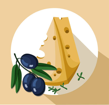 Cheese slice and olives icon template tasty Vector illustration Illusztráció