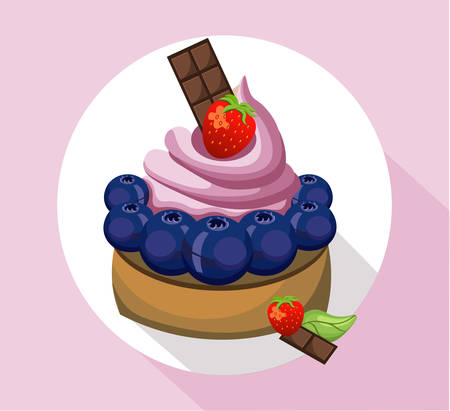 Berry mousse delicious cake. Sweet dessert blackberry flavors Vector illustration
