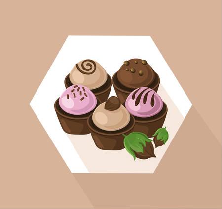 glaze: Delicious cupcakes set. Sweet dessert chocolate lavender flavors Vector illustration