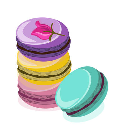 Delicious Macaroon colorful sweets dessert Vector illustration