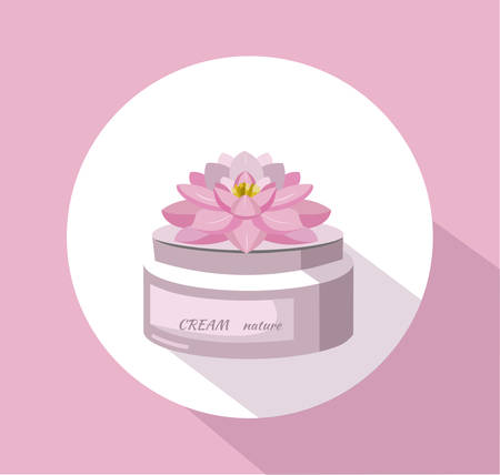 Vector Cosmetics waterlily flower cream package icons. Hydration lotion. Perfect for advertising, flyer, banner, poster. 2d illustration Illustration