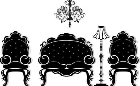 Vintage black furniture set Vector. Rich carved ornaments furniture collection. Vector Victorian Style