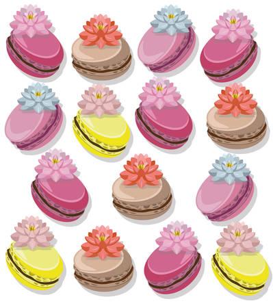Delicious Macaroon colorful dessert set Vector illustration