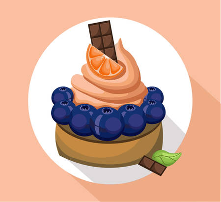 dessert buffet: Orange mousse delicious cake. Sweet dessert cherry blackberry decoration Vector illustration