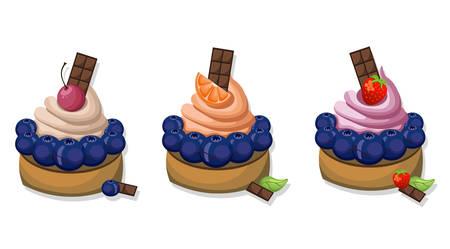 Berry mousse delicious cakes set. Sweet dessert blackberry flavors Vector illustration Illustration