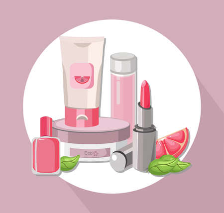 Vector eco Cosmetics set package. Hydration cream and lotion, nail polish, lip balm. Perfect for advertising, flyer, banner, poster. Pink color 2d illustration