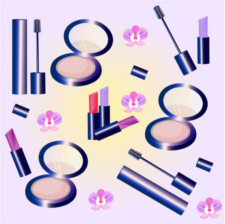 Vector Cosmetics set pattern. Floral Perfume collection, mascara, blush, lipstick, lip balm. Perfect for advertising, flyer, banner, poster. 2d illustration Illustration