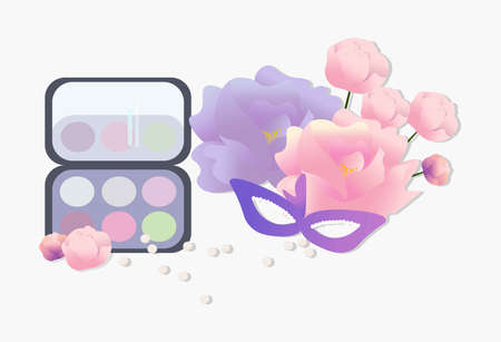 Vector Cosmetics set. Floral Perfume collection, blush, lipstick, lip balm. Perfect for advertising, flyer, banner, poster. 2d illustration Illustration