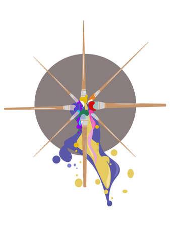 Painting brushes tools Vector illustration art decoration background Illustration
