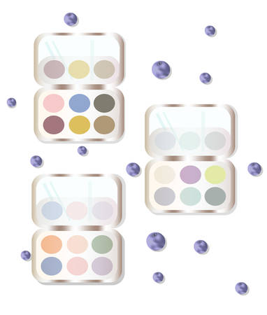 reflection in mirror: Eyeshadows makeup set collection colorful Vector illustration