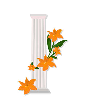 roman pillar: Greek Doric columns order vintage design Vector illustration