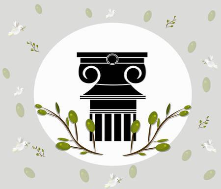 doric: Greek Ionic columns order vintage design with olive leaves branch Vector illustration Illustration