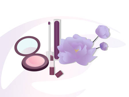 Vector Cosmetics set package. Floral Perfume collection, blush, lipstick, lip balm. Perfect for advertising, flyer, banner, poster. 2d illustration