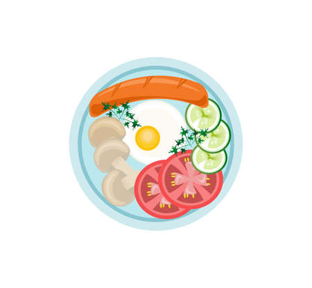 English Breakfast plate flat style top view Vector illustration