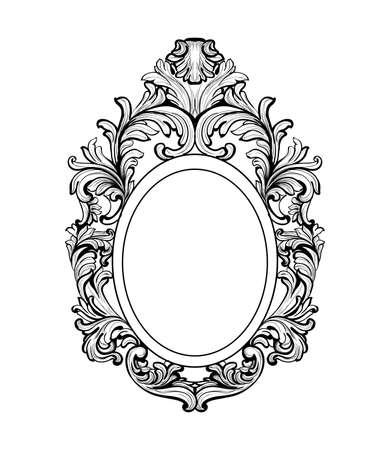 풍부한 바로크 미러 프레임입니다. 벡터 프랑스어 럭셔리 부자 복잡 한 장신구입니다. 빅토리아 왕실 스타일 장식