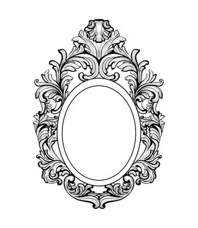 hand carved: Rich Baroque Mirror frame. Vector French Luxury rich intricate ornaments. Victorian Royal Style decor