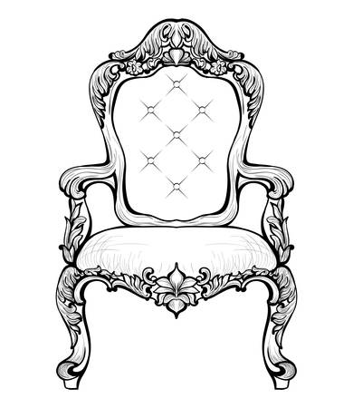 Classic Imperial Baroque armchair with luxurious ornaments. Vector French Luxury rich intricate structure. Victorian Royal Style decors