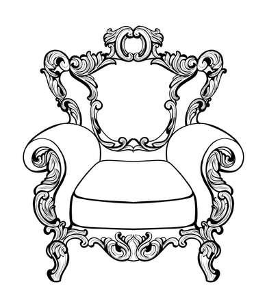 caoba: Sillón barroco imperial clásico con los ornamentos lujosos. Vector De lujo francés rica estructura intrincada. Decoración victoriana de estilo real