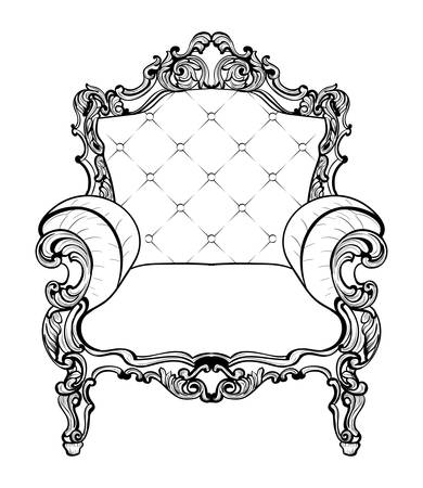 Classic Imperial Baroque armchair with luxurious ornaments. Vector French Luxury rich intricate structure. Victorian Royal Style decor
