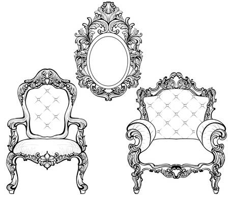 Rich Imperial Baroque Rococo furniture and frames set.