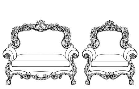 Classic Imperial Baroque armchair set with luxurious ornaments Illustration