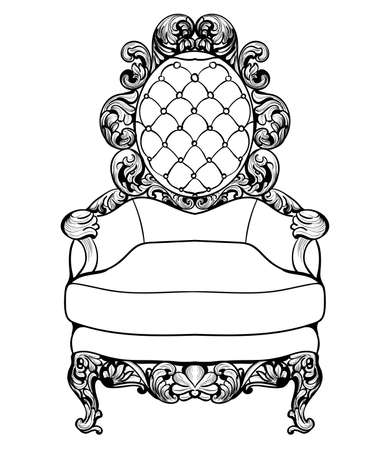 caoba: Imperial Baroque armchair with luxurious ornaments. Vector French Luxury rich intricate structure. Victorian Royal Style decor