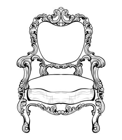 Imperial Baroque armchair with luxurious ornaments. Vector French Luxury rich intricate structure. Victorian Royal Style decor
