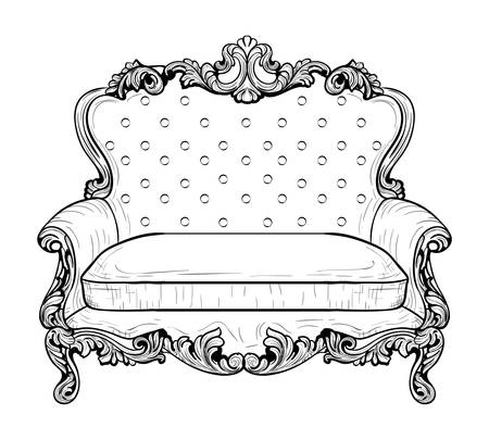 Imperial Baroque couch with luxurious ornaments. Vector French Luxury rich intricate structure. Victorian Royal Style decor