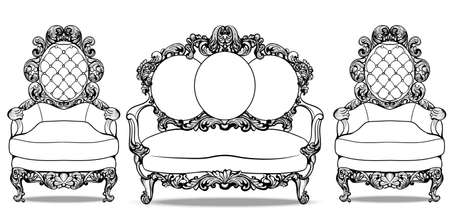 sumptuous: Baroque furniture with luxurious ornaments set. Vector French Luxury rich intricate structure.