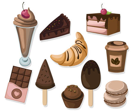 Delicious dessert chocolate cakes and croissant pattern vector illustration