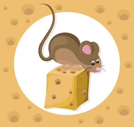 cheddar: Funny cute mouse character on a cheese slice. Cartoon Vector illustrations Stock Photo