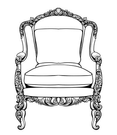 caoba: Sillón imperial barroco con adornos lujosos. Vector De lujo francés rica estructura intrincada. Decoración victoriana de estilo real Vectores