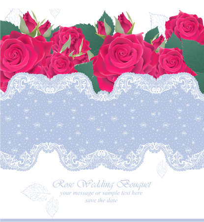 Pink roses lace card Vector. delicate summer card. Springtime fresh natural composition