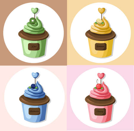 cupcakes isolated: Cupcake muffin set collection Vector illustration dessert. Template icon for menu, cafe, bakery. Vintage retro background Illustration