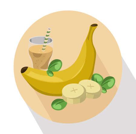 Banana shake Vector illustration fruit drink. Summer refreshment icon