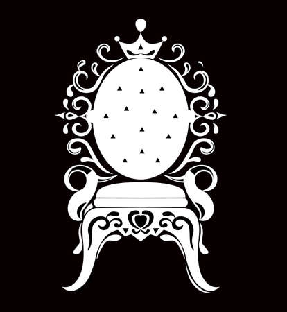 Vintage armchair black silhouette. French Luxury rich carved ornaments decorated furniture. Vector Victorian Royal Style structure Illustration