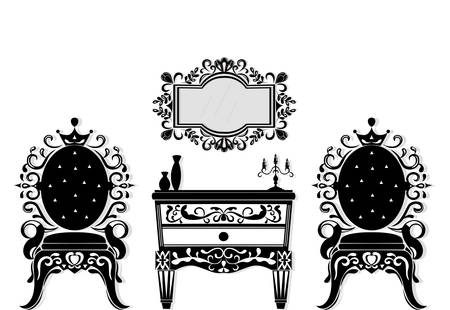 Vintage black furniture set Vector. Rich carved ornaments furniture collection. Vector Victorian Styles Çizim